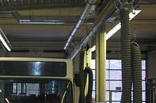 EXA suction rail, movable system in a bus depot