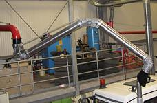 EXA pipe jib-boom (length 8 m) with central fan for municipal vehicles with overhead exhaust tailpipes